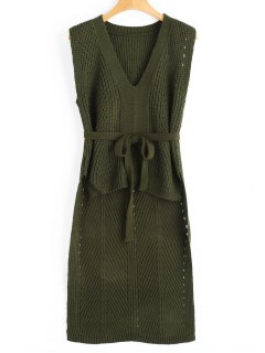 Belted High Low Sweater Vest - Army Green