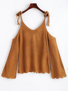 Cold Shoulder Flare Sleeve Cami Knitted Top - Ginger