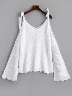 Cold Shoulder Flare Sleeve Cami Knitted Top - White
