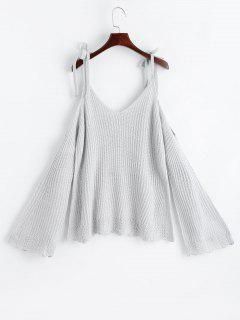 Cold Shoulder Flare Sleeve Cami Knitted Top - Light Gray
