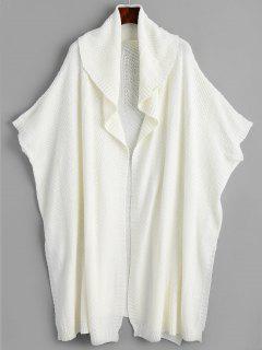 Side Slit Draped Cape Cardigan - Off-white