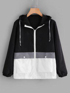 Hooded Two Tone Water Repellent Jacket - Black S