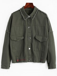Snap Button Frayed Hem Letter Denim Jacket - Army Green