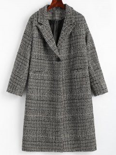 Back Slit One Button Checked Coat - Checked L