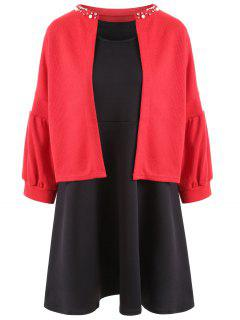 Sleeveless Plus Size Dress With Crop Jacket - Red With Black 2xl