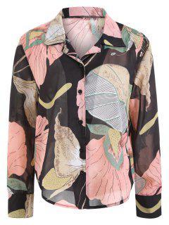 Floral Print Plus Size Shirt - Floral 3xl