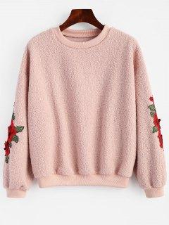 Floral Patched Shearling Sweatshirt - Papaya