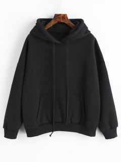Sporty Pocket Fleece Hoodie - Black S