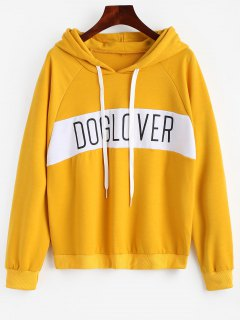 Letter Pattern Hoodie - Bright Yellow L