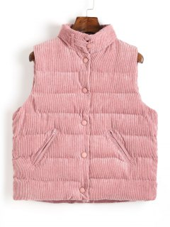 Snap Button Corduroy Waistcoat - Pink