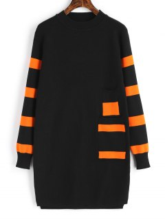 Long Sleeve Stripes Panel Sweater Dress - Black