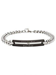 Romantic Letter Carving Embellished Titanium Steel Bracelet - Black