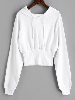 Ribbed Trim Textured Hoodie - White M