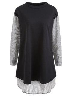 Striped Panel Plus Size Tunic - Black 2xl