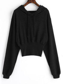 Ribbed Trim Textured Hoodie - Black S