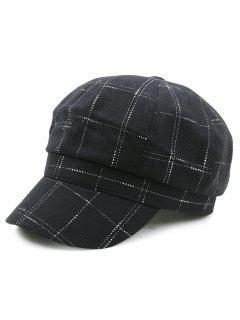 Outdoor Checked Pattern Newsboy Hat - Black