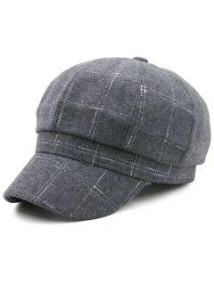 Outdoor Checked Pattern Newsboy Hat - Gray