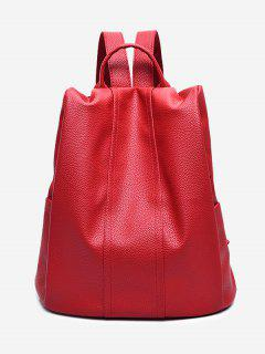 Top Handle Faux Leather Backpack - Red