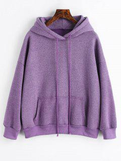 Sporty Pocket Fleece Hoodie - Purple L