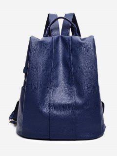 Top Handle Faux Leather Backpack - Blue