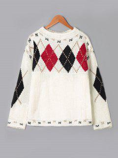 Rhombus Muster Tropfen Schulter Pullover - Beige (weis)