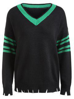 Distressed Slit Hem Plus Size Sweater - Black 2xl