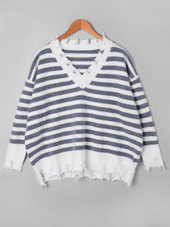 Striped Drop Shoulder Ripped Sweater - Grey And White