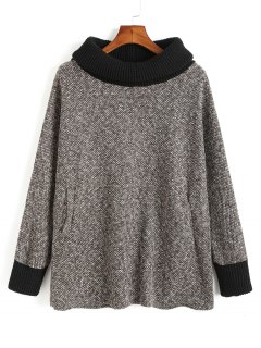 Oversized Turtleneck Contrasting Heathered Sweater - Gray