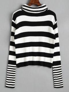 Ribbed Turtleneck Stripes Sweater - Stripe