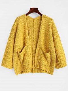Chunky Offener Cardigan Mit Taschen - Ingwer-gelb