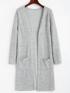 Open Longline Cardigan Mit Taschen - Grau