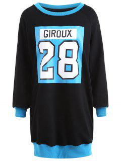 Slit Flocking Graphic Plus Size Sweatshirt Dress - Blue 5xl