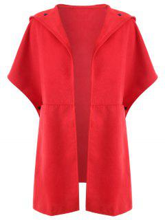 Plus Size Hooded Cape Coat - Red 2xl