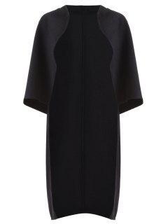 Longline Wool Blend Cape - Black 5xl
