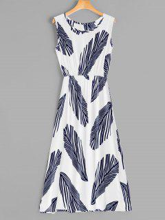 Leaf Print Sleeveless Midi Dress - White M