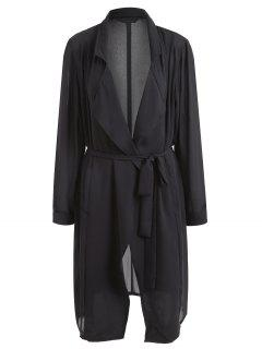Belted Lapel Plus Size Coat - Black Xl