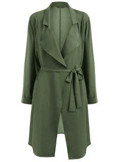 Manteau Ceinturé à Col Tailleur Grande Taille - Vert Armée Xl