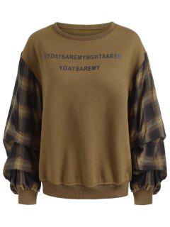 Gingham Lantern Sleeve Plus Size Sweatshirt - Brown Xl