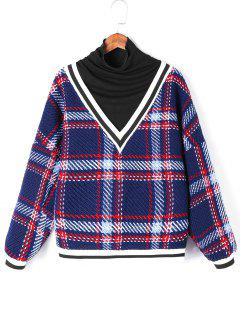 Plaid Contrast Trim Knitwear - Blue