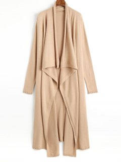Open Front Waterfall Maxi Cardigan - Camel S