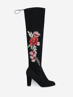 Flower Embroidery High Heel Over The Knee Boots - Black 39