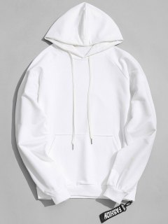 Side Zipper Hoodie - White L