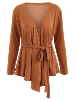 Plus Size Plunging Neck Wrap Cardiagn - Earthy 2xl