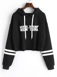 New York Graphic Crop Hoodie - Black