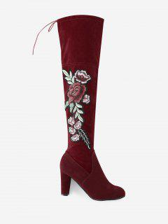 Flower Embroidery High Heel Over The Knee Boots - Red 42