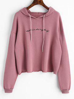 Raw Hem Letter Embroidered Hoodie - Pale Pinkish Grey