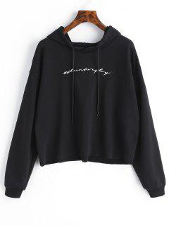 Raw Hem Letter Embroidered Hoodie - Black