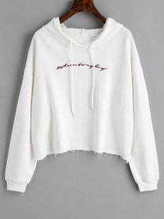 Raw Hem Letter Embroidered Hoodie - White