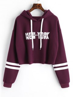 New York Graphic Crop Hoodie - Purple