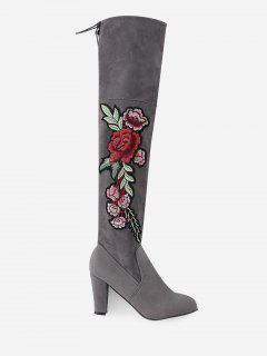 Flower Embroidery High Heel Over The Knee Boots - Gray 43